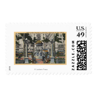 U.S. Grant Hotel, Plaza Park, Fountain View Postage Stamp