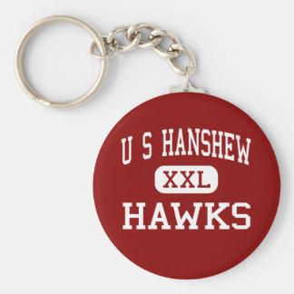 U S Hanshew - halcones - centro - Anchorage Alaska Llavero Redondo Tipo Pin