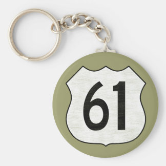 U.S. Highway 61 Route Sign Basic Round Button Keychain