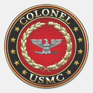 U.S. Infantes de marina: Coronel (Col) del USMC Pegatinas Redondas
