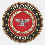 U.S. Infantes de marina: Coronel (Col) del USMC Pegatina Redonda