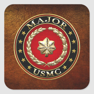 U.S. Infantes de marina: Major (comandante) del Calcomanía Cuadradas Personalizadas