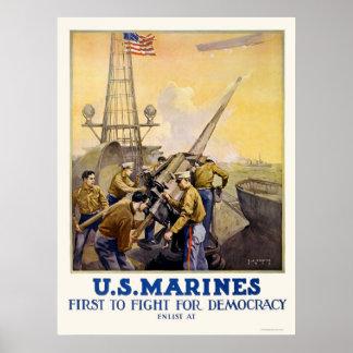 U.S. Infantes de marina - primero luchar para la d Posters