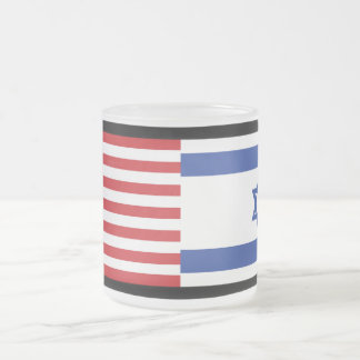 U.S. & Israel Flags Frosted Glass Coffee Mug