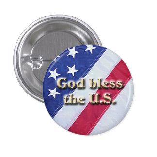 U.S. La bandera bendice el botón de los E.E.U.U.,