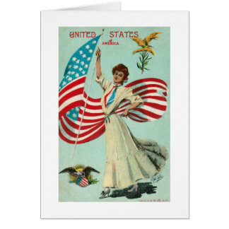 U.S. Lady & Flag-Early 1900's Stationery Note Card
