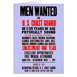 U.S. Los hombres del guardacostas quisieron 1914 Tarjeta Pequeña