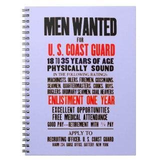 U.S. Los hombres del guardacostas quisieron el Libros De Apuntes Con Espiral