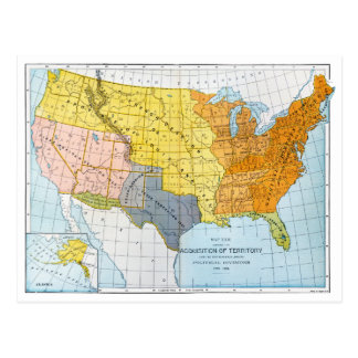 U.S. MAP, 1776-1884 POSTCARD