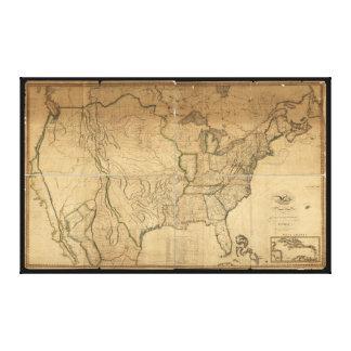 U.S. Map with British & Spanish Possessions (1816) Canvas Print