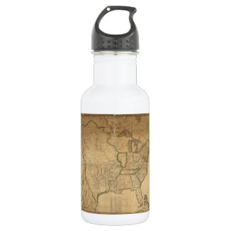 U.S. Map with British & Spanish Possessions (1816) 18oz Water Bottle