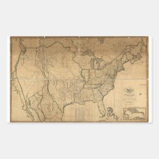 U.S. Map with British & Spanish Possessions (1816) Rectangular Sticker
