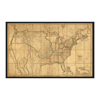 U.S. Map with British & Spanish Possessions (1818) Canvas Print