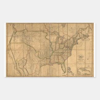 U.S. Map with British & Spanish Possessions (1818) Rectangular Sticker