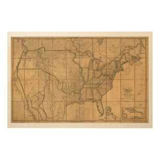U.S. Map with British & Spanish Possessions (1818) Wood Prints