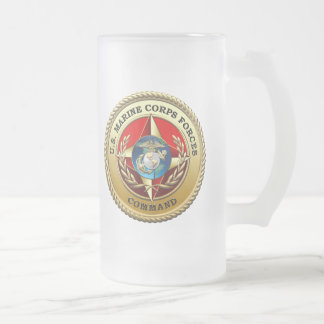 U.S. Marine Corps Forces Command (MARFORCOM) [3D] Frosted Glass Beer Mug
