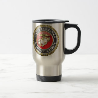 U.S. Marine Corps (USMC) Emblem [3D] 15 Oz Stainless Steel Travel Mug