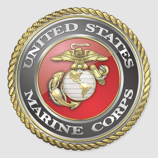 u s marine corps usmc emblem 3d classic round sticker zazzle com