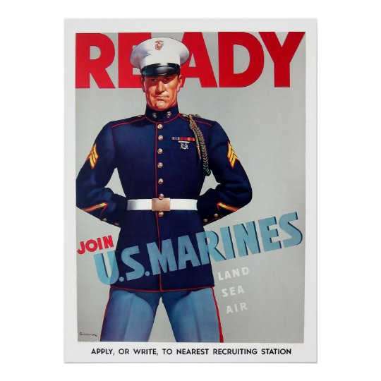 "Armed Ready To Serve: U.S. Marine Corps Vintage ""Ready"" Poster"