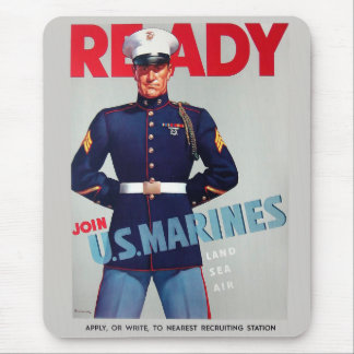 "U.S. Marine Corps Vintage WWII ""Ready"" Poster Mouse Pad"