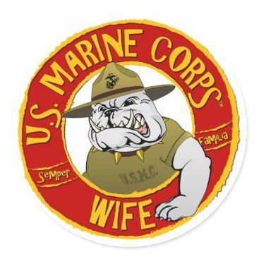 U.S. Marine Corps Wife Classic Round Sticker
