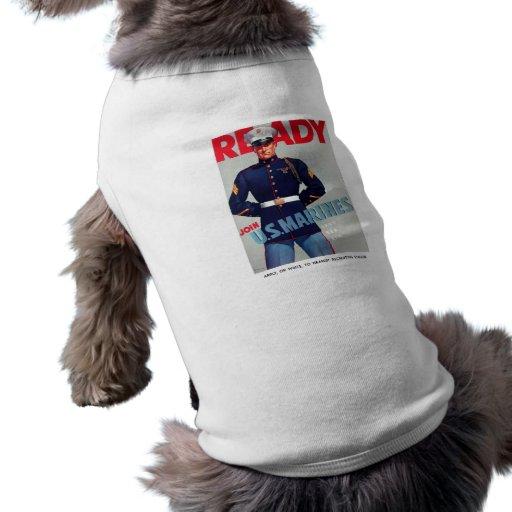 "U.S. Marine Corps WWII ""Ready"" Poster Doggie Shirt"