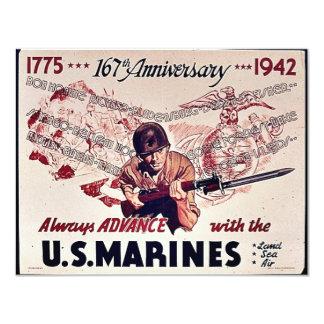 U.S. Marines 4.25x5.5 Paper Invitation Card