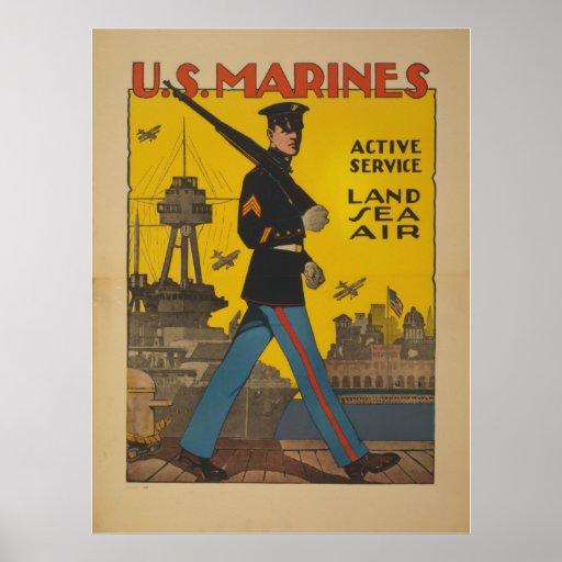 U.S. Marines.  Active Service.  Land Sea Air Poster