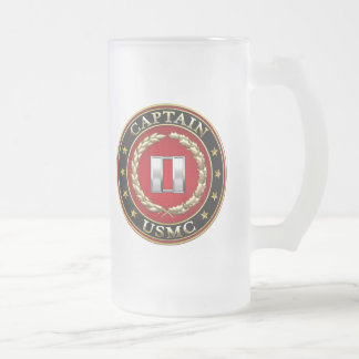 U.S. Marines: Captain (USMC Capt) [3D] Frosted Glass Beer Mug