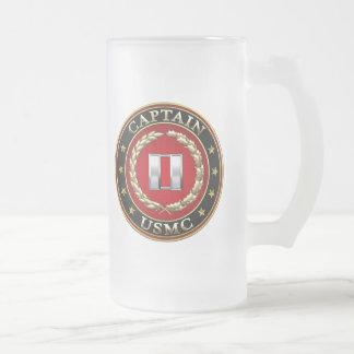 U.S. Marines: Captain (USMC Capt) [3D] Frosted Glass Beer Mug
