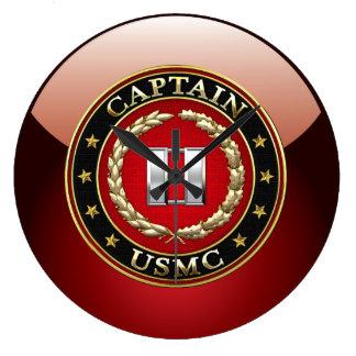 U.S. Marines: Captain (USMC Capt) [3D] Large Clock