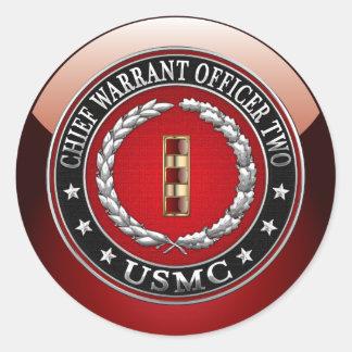 U.S. Marines: Chief Warrant Two (USMC CWO-2) [3D] Classic Round Sticker