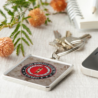 U.S. Marines: Chief Warrant Two (USMC CWO-2) [3D] Silver-Colored Square Keychain