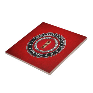 U.S. Marines: Chief Warrant Two (USMC CWO-2) [3D] Small Square Tile