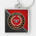U.S. Marines: Colonel (USMC Col) [3D] Silver-Colored Square Keychain