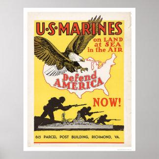 U.S. Marines Defend America Poster