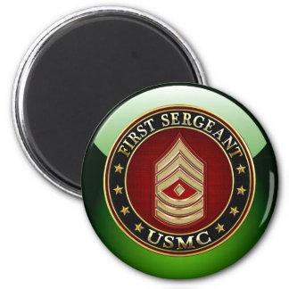 U.S. Marines: First Sergeant (USMC 1stSgt) [3D] 2 Inch Round Magnet