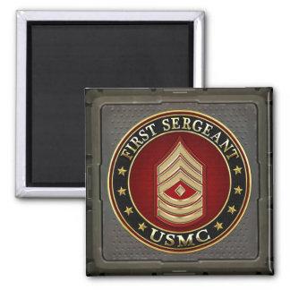 U.S. Marines: First Sergeant (USMC 1stSgt) [3D] 2 Inch Square Magnet
