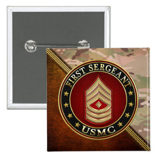 U.S. Marines: First Sergeant (USMC 1stSgt) [3D] Pinback Buttons