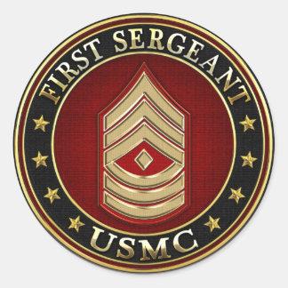 U.S. Marines: First Sergeant (USMC 1stSgt) [3D] Classic Round Sticker