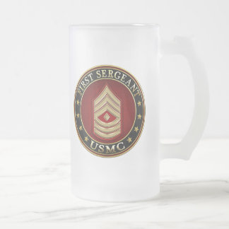 U.S. Marines: First Sergeant (USMC 1stSgt) [3D] Frosted Glass Beer Mug