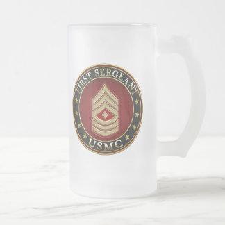U.S. Marines: First Sergeant (USMC 1stSgt) [3D] Frosted Glass Beer Mug