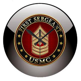 U.S. Marines: First Sergeant (USMC 1stSgt) [3D] Large Clock