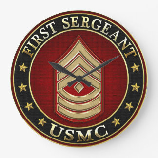 U.S. Marines: First Sergeant (USMC 1stSgt) [3D] Large Clock