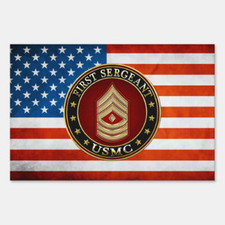 U.S. Marines: First Sergeant (USMC 1stSgt) [3D] Lawn Sign