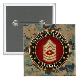 U.S. Marines: First Sergeant (USMC 1stSgt) [3D] Pinback Button