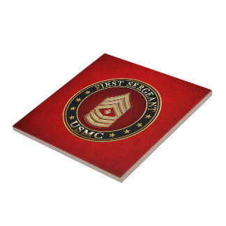 U.S. Marines: First Sergeant (USMC 1stSgt) [3D] Small Square Tile