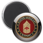 U.S. Marines: Master Sergeant (USMC MSgt) [3D] 2 Inch Round Magnet