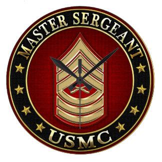 U.S. Marines: Master Sergeant (USMC MSgt) [3D] Large Clock