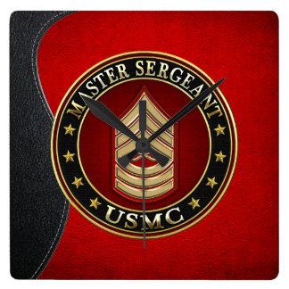 U.S. Marines: Master Sergeant (USMC MSgt) [3D] Square Wall Clock
